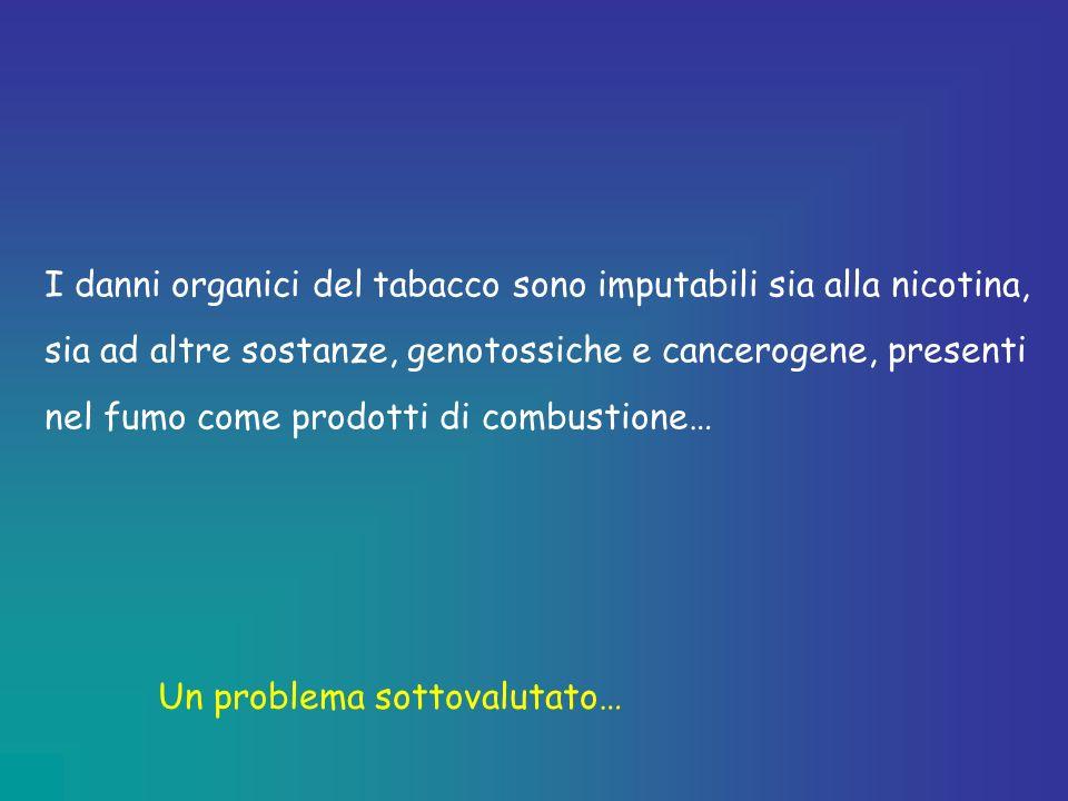 I danni organici del tabacco sono imputabili sia alla nicotina, sia ad altre sostanze, genotossiche e cancerogene, presenti nel fumo come prodotti di