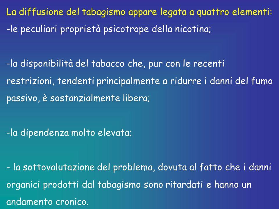 La diffusione del tabagismo appare legata a quattro elementi: -le peculiari proprietà psicotrope della nicotina; -la disponibilità del tabacco che, pu