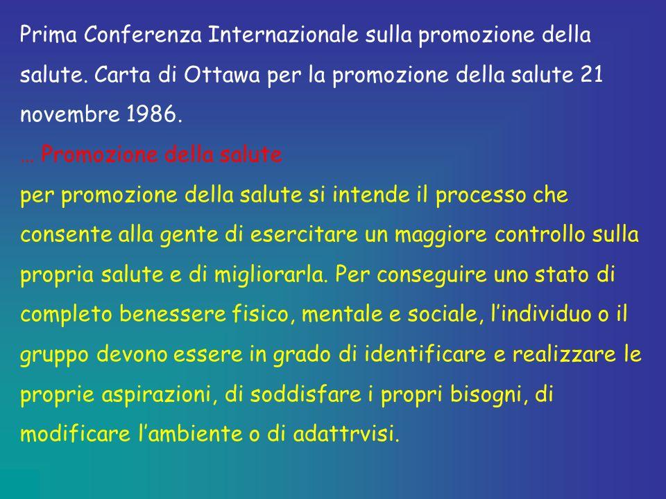 Prima Conferenza Internazionale sulla promozione della salute. Carta di Ottawa per la promozione della salute 21 novembre 1986. … Promozione della sal