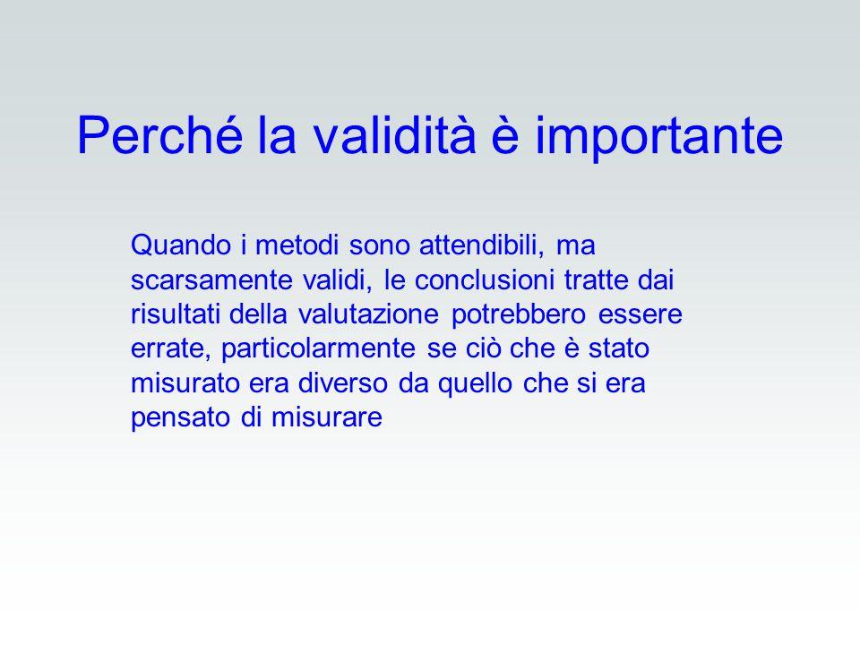 Perché la validità è importante Quando i metodi sono attendibili, ma scarsamente validi, le conclusioni tratte dai risultati della valutazione potrebb