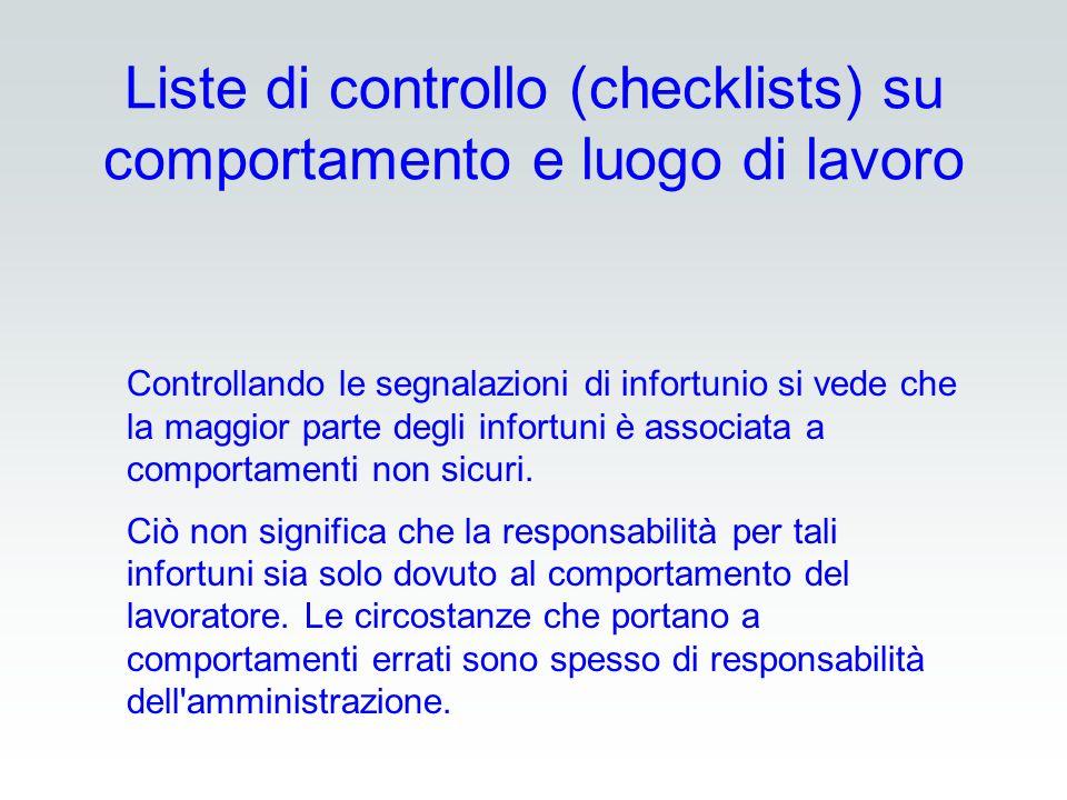 Liste di controllo (checklists) su comportamento e luogo di lavoro Controllando le segnalazioni di infortunio si vede che la maggior parte degli infor