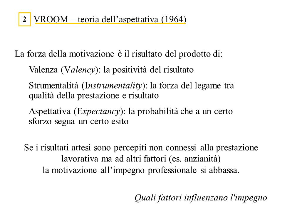 VROOM – teoria dellaspettativa (1964) 2 Quali fattori influenzano l'impegno La forza della motivazione è il risultato del prodotto di: Valenza (Valenc