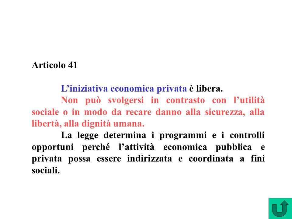 Articolo 41 Liniziativa economica privata è libera.