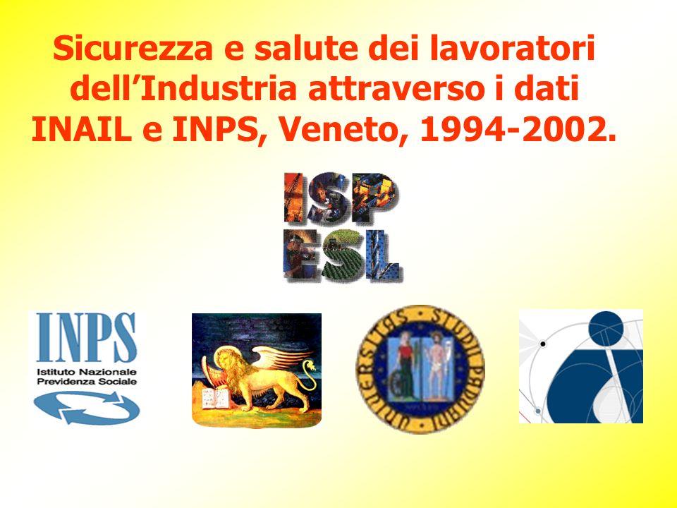 Sicurezza e salute dei lavoratori dellIndustria attraverso i dati INAIL e INPS, Veneto, 1994-2002.
