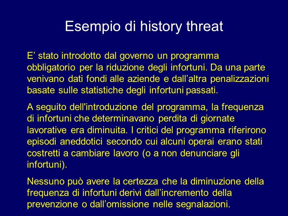 Esempio di history threat E stato introdotto dal governo un programma obbligatorio per la riduzione degli infortuni. Da una parte venivano dati fondi
