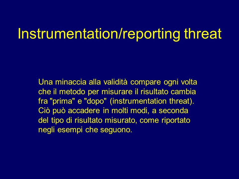 Instrumentation/reporting threat Una minaccia alla validità compare ogni volta che il metodo per misurare il risultato cambia fra