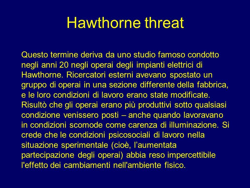 Hawthorne threat Questo termine deriva da uno studio famoso condotto negli anni 20 negli operai degli impianti elettrici di Hawthorne. Ricercatori est