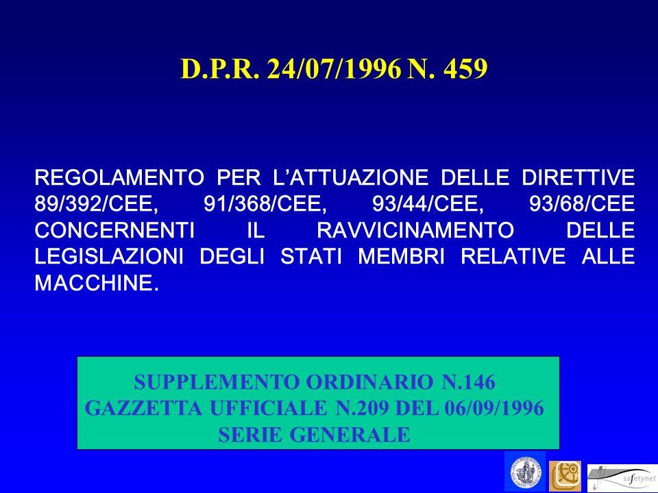 D.P.R. 24/07/1996 N. 459 REGOLAMENTO PER LATTUAZIONE DELLE DIRETTIVE 89/392/CEE, 91/368/CEE, 93/44/CEE, 93/68/CEE CONCERNENTI IL RAVVICINAMENTO DELLE