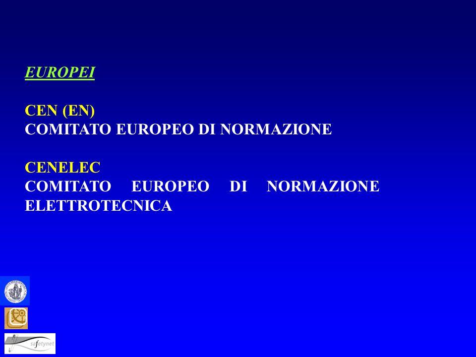 EUROPEI CEN (EN) COMITATO EUROPEO DI NORMAZIONE CENELEC COMITATO EUROPEO DI NORMAZIONE ELETTROTECNICA