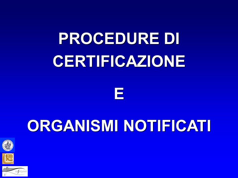 PROCEDURE DI CERTIFICAZIONE E ORGANISMI NOTIFICATI