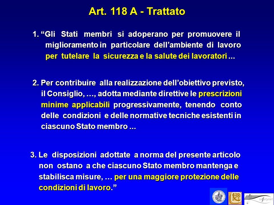 Art. 118 A - Trattato 1. Gli Stati membri si adoperano per promuovere il miglioramento in particolare dellambiente di lavoro miglioramento in particol