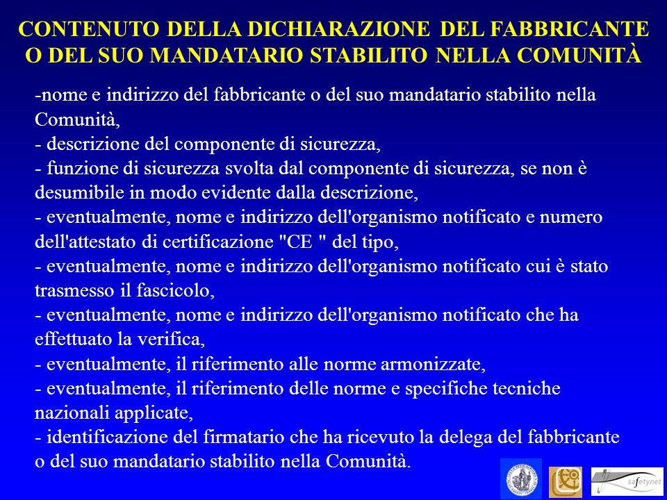 -nome e indirizzo del fabbricante o del suo mandatario stabilito nella Comunità, - descrizione del componente di sicurezza, - funzione di sicurezza sv