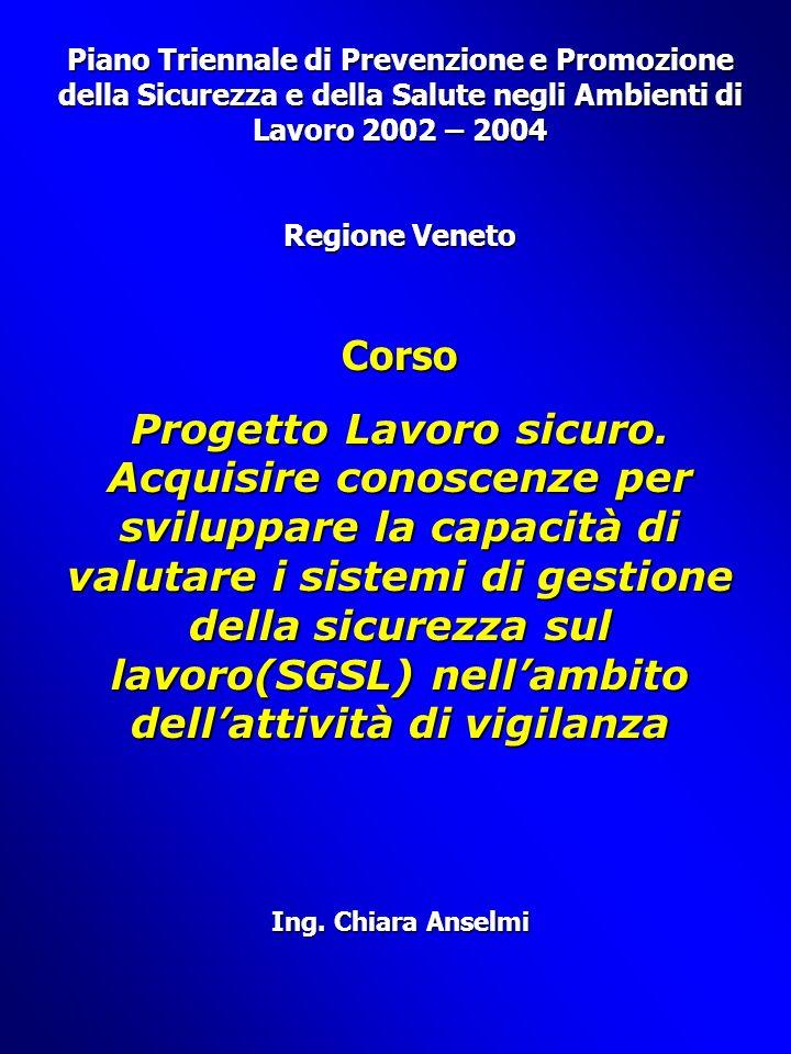 Piano Triennale di Prevenzione e Promozione della Sicurezza e della Salute negli Ambienti di Lavoro 2002 – 2004 Regione Veneto Corso Progetto Lavoro sicuro.