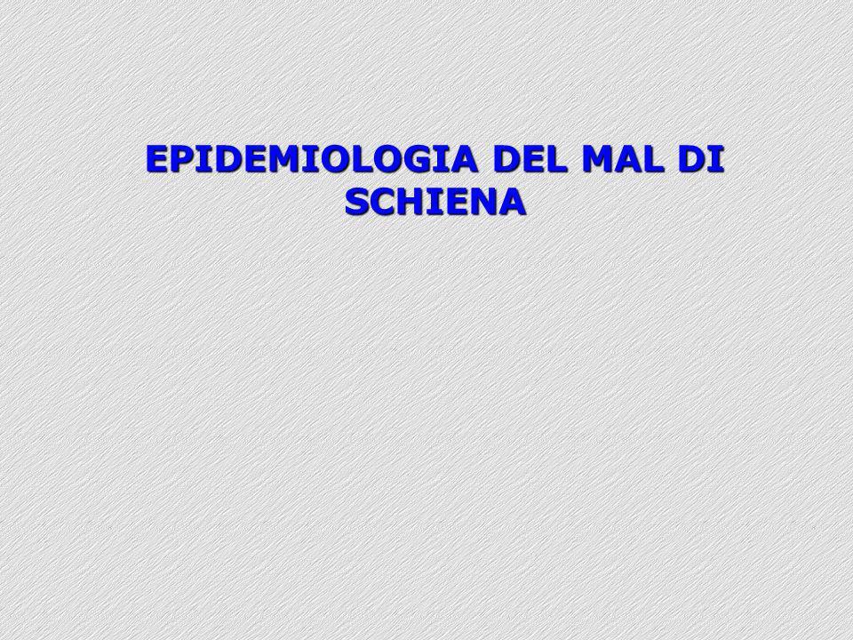 EPIDEMIOLOGIA DEL MAL DI SCHIENA