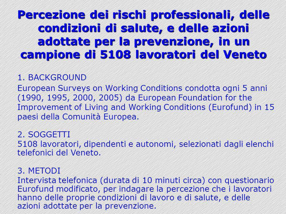 Percezione dei rischi professionali, delle condizioni di salute, e delle azioni adottate per la prevenzione, in un campione di 5108 lavoratori del Ven