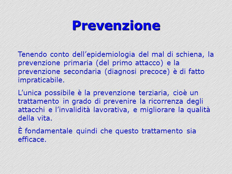 Prevenzione Tenendo conto dellepidemiologia del mal di schiena, la prevenzione primaria (del primo attacco) e la prevenzione secondaria (diagnosi prec