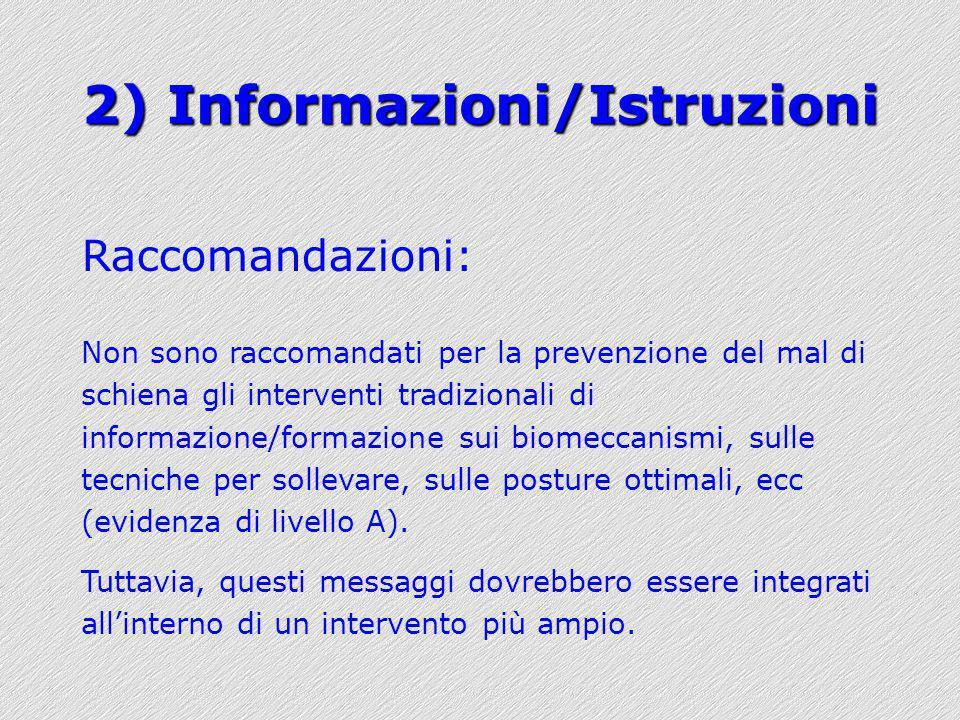 2) Informazioni/Istruzioni Raccomandazioni: Non sono raccomandati per la prevenzione del mal di schiena gli interventi tradizionali di informazione/fo