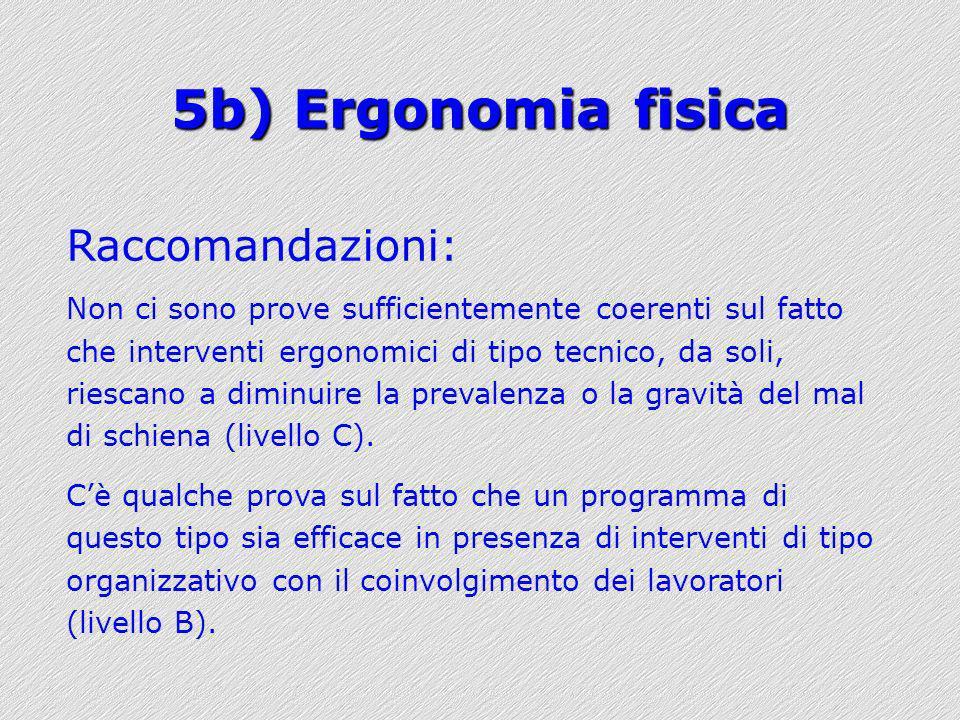 5b) Ergonomia fisica Raccomandazioni: Non ci sono prove sufficientemente coerenti sul fatto che interventi ergonomici di tipo tecnico, da soli, riesca