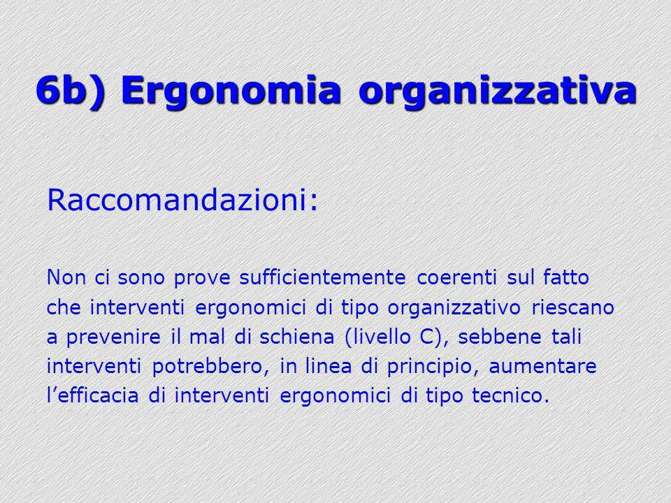 6b) Ergonomia organizzativa Raccomandazioni: Non ci sono prove sufficientemente coerenti sul fatto che interventi ergonomici di tipo organizzativo rie