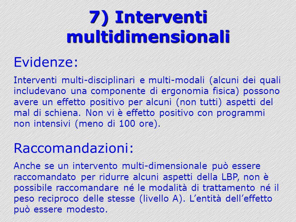 7) Interventi multidimensionali Evidenze: Interventi multi-disciplinari e multi-modali (alcuni dei quali includevano una componente di ergonomia fisic