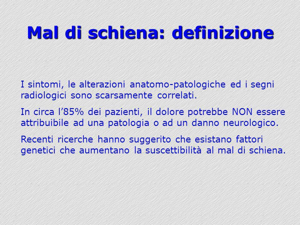 Mal di schiena: definizione I sintomi, le alterazioni anatomo-patologiche ed i segni radiologici sono scarsamente correlati. In circa l85% dei pazient