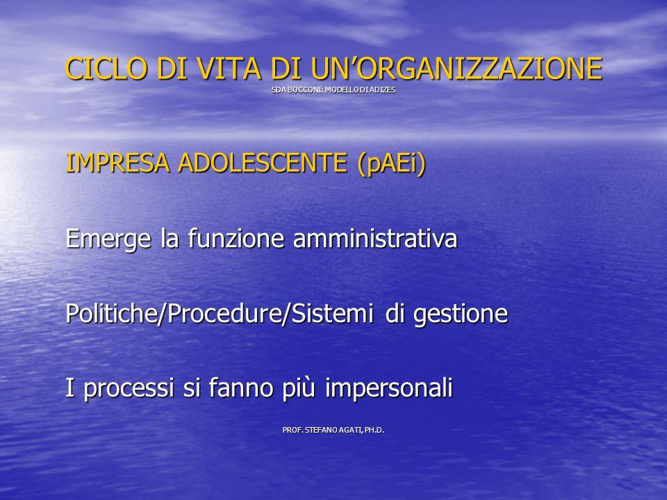 CICLO DI VITA DI UNORGANIZZAZIONE SDA BOCCONI: MODELLO DI ADIZES IMPRESA ADOLESCENTE (pAEi) Emerge la funzione amministrativa Politiche/Procedure/Sistemi di gestione I processi si fanno più impersonali PROF.