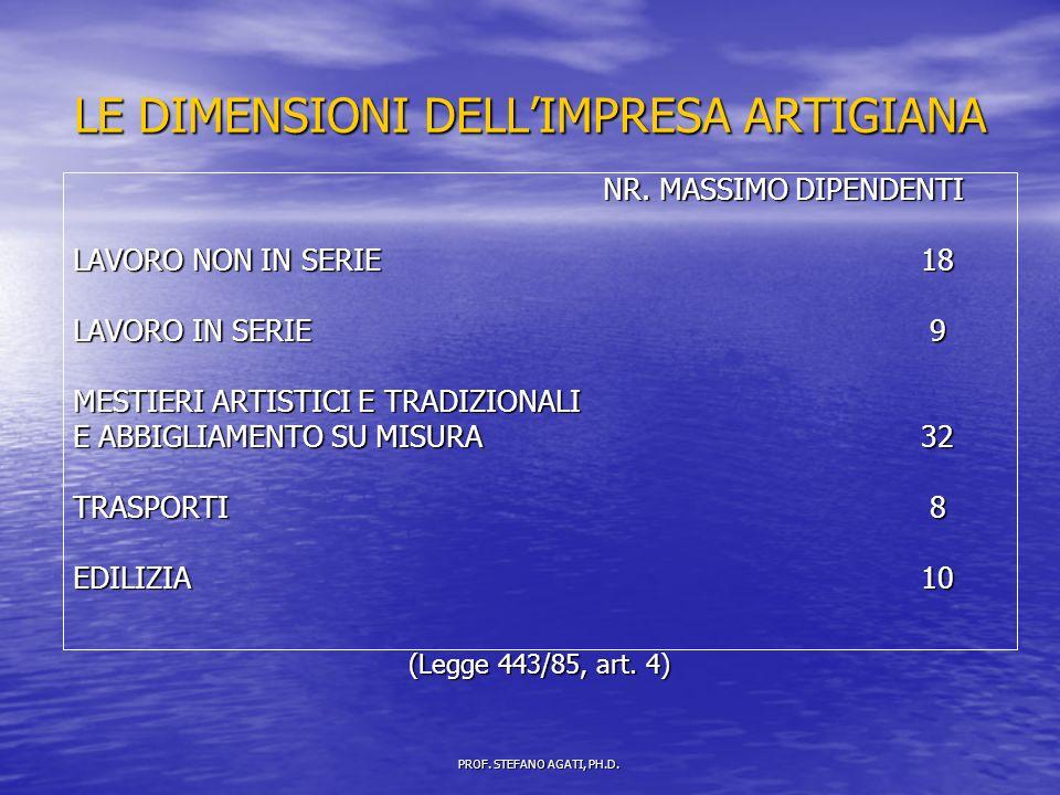 LE DIMENSIONI DELLIMPRESA ARTIGIANA NR.