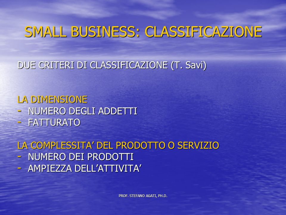 SMALL BUSINESS: CLASSIFICAZIONE DUE CRITERI DI CLASSIFICAZIONE (T.