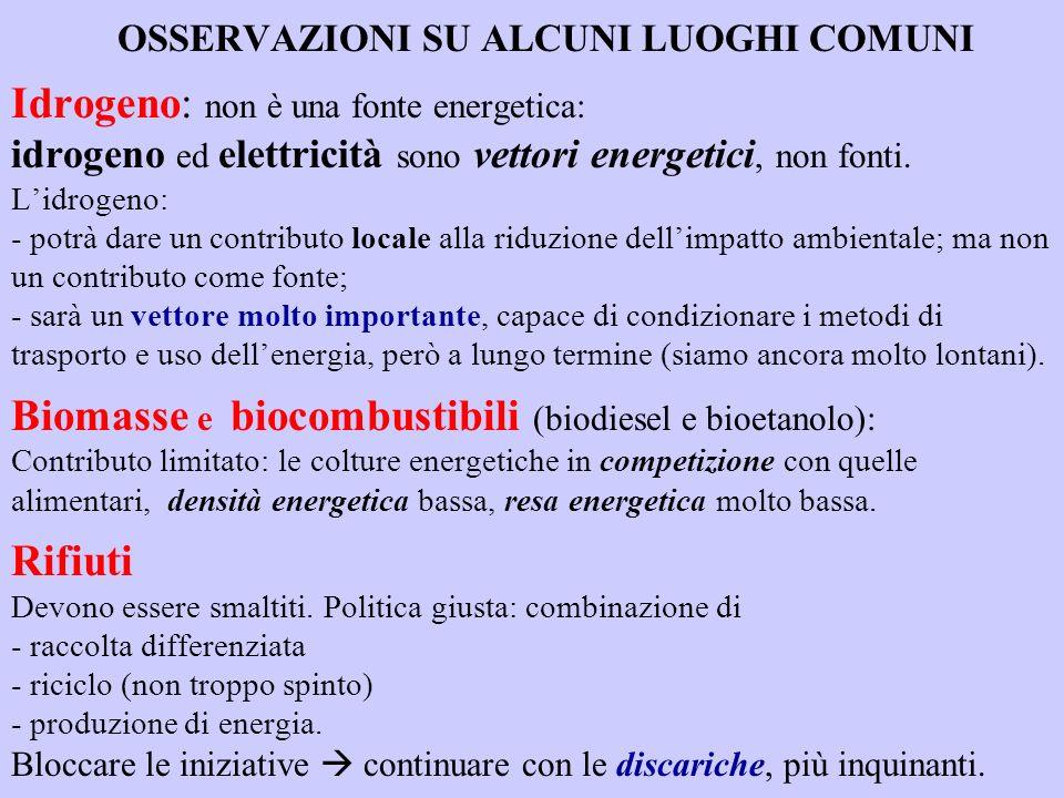 OSSERVAZIONI SU ALCUNI LUOGHI COMUNI Idrogeno: non è una fonte energetica: idrogeno ed elettricità sono vettori energetici, non fonti. Lidrogeno: - po