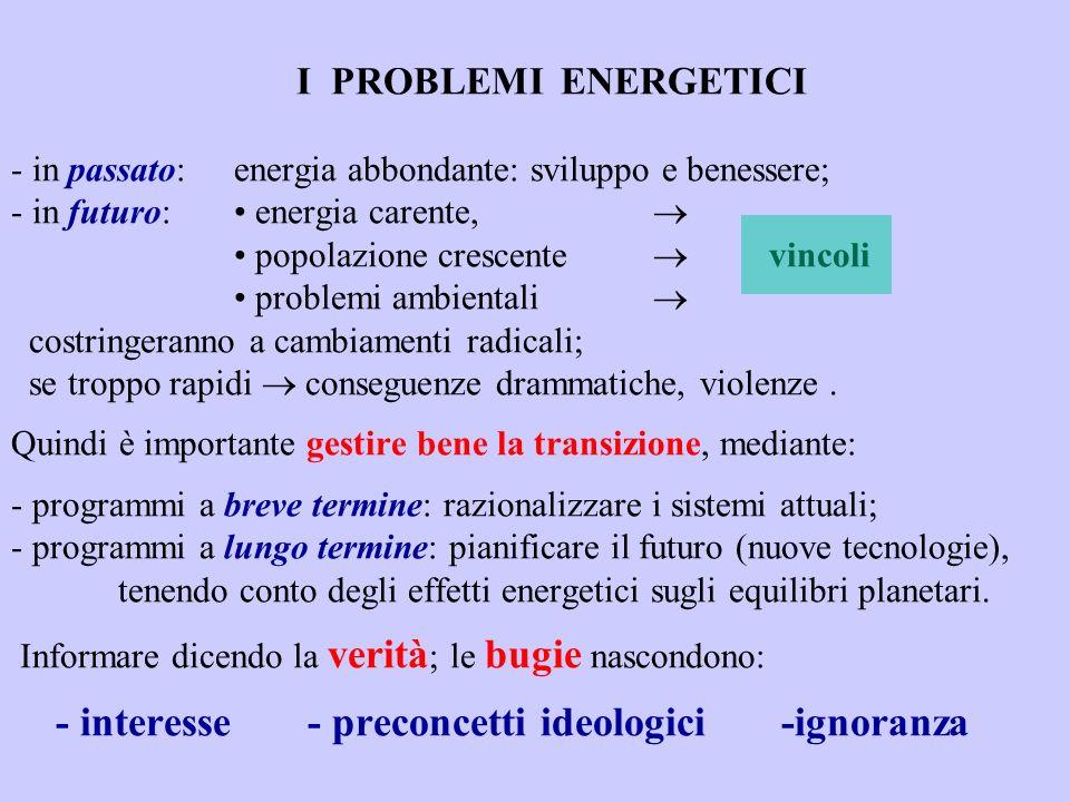 I PROBLEMI ENERGETICI - in passato: energia abbondante: sviluppo e benessere; - in futuro: energia carente, popolazione crescente vincoli problemi amb