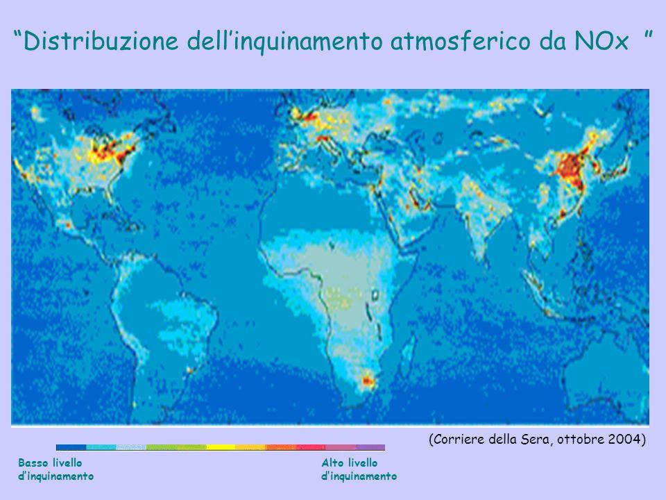 Basso livello dinquinamento Alto livello dinquinamento Distribuzione dellinquinamento atmosferico da NOx (Corriere della Sera, ottobre 2004)