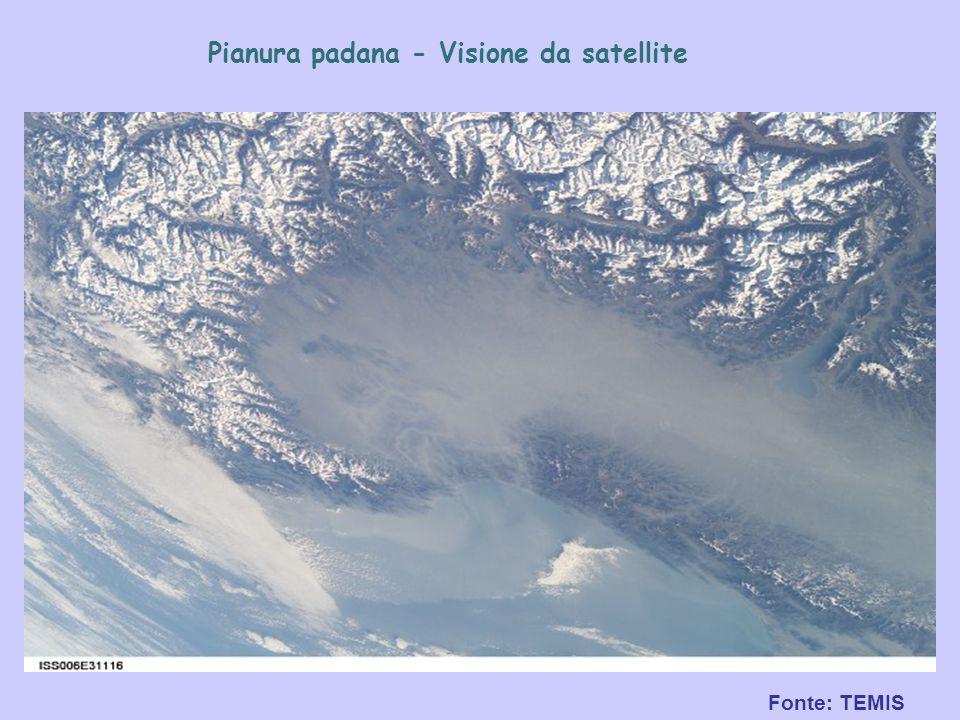 Fonte: TEMIS Pianura padana - Visione da satellite