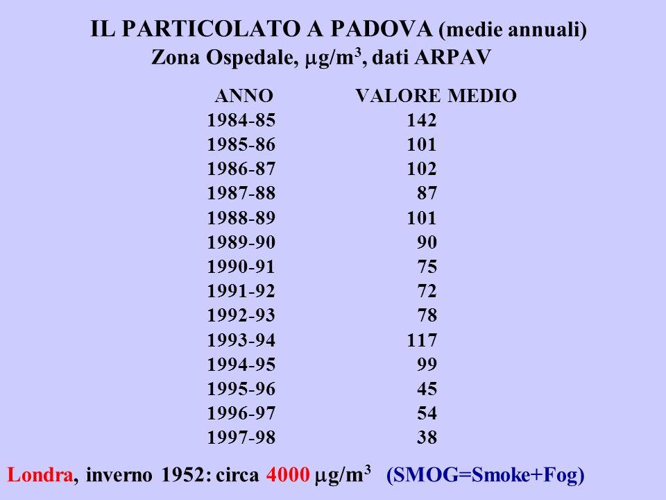 IL PARTICOLATO A PADOVA (medie annuali) Zona Ospedale, g/m 3, dati ARPAV ANNO VALORE MEDIO 1984-85142 1985-86101 1986-87102 1987-88 87 1988-89101 1989-90 90 1990-91 75 1991-92 72 1992-93 78 1993-94117 1994-95 99 1995-96 45 1996-97 54 1997-98 38 Londra, inverno 1952: circa 4000 g/m 3 (SMOG=Smoke+Fog)