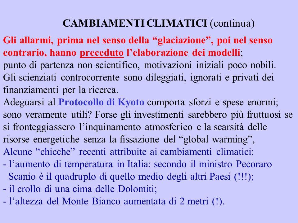 CAMBIAMENTI CLIMATICI (continua) Gli allarmi, prima nel senso della glaciazione, poi nel senso contrario, hanno preceduto lelaborazione dei modelli; punto di partenza non scientifico, motivazioni iniziali poco nobili.