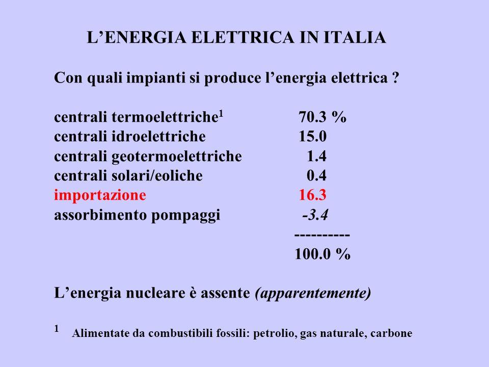 LENERGIA ELETTRICA IN ITALIA Con quali impianti si produce lenergia elettrica ? centrali termoelettriche 1 70.3 % centrali idroelettriche15.0 centrali