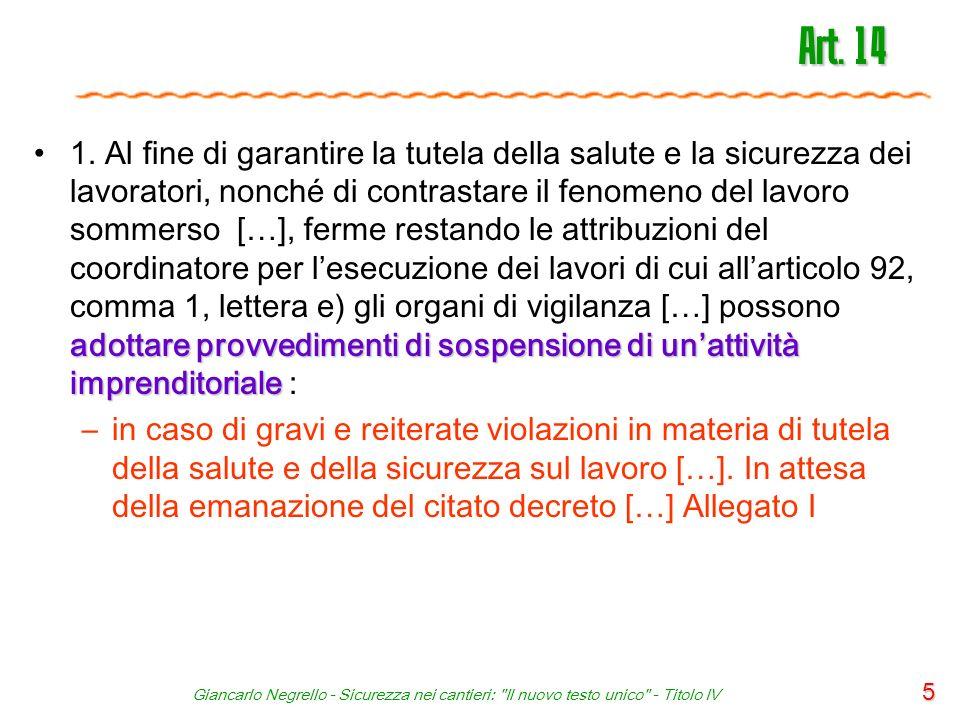 Giancarlo Negrello - Sicurezza nei cantieri: Il nuovo testo unico - Titolo IV 46 Articolo 91 - Obblighi del CSP 1.