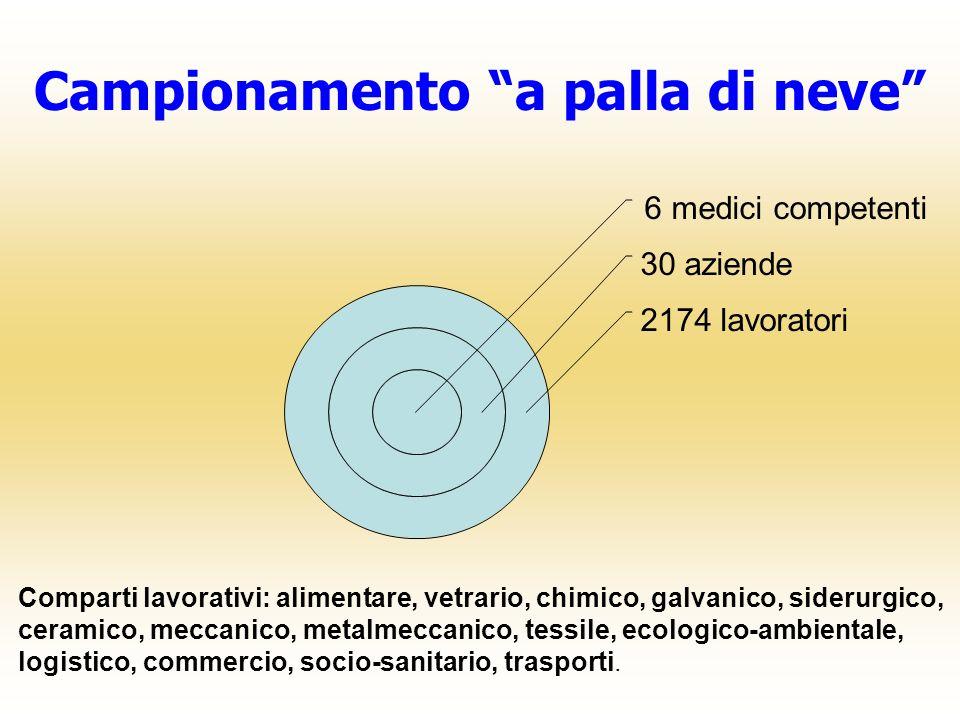 Campionamento a palla di neve 6 medici competenti 30 aziende 2174 lavoratori Comparti lavorativi: alimentare, vetrario, chimico, galvanico, siderurgic