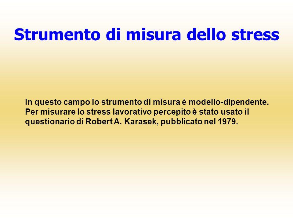 In questo campo lo strumento di misura è modello-dipendente. Per misurare lo stress lavorativo percepito è stato usato il questionario di Robert A. Ka
