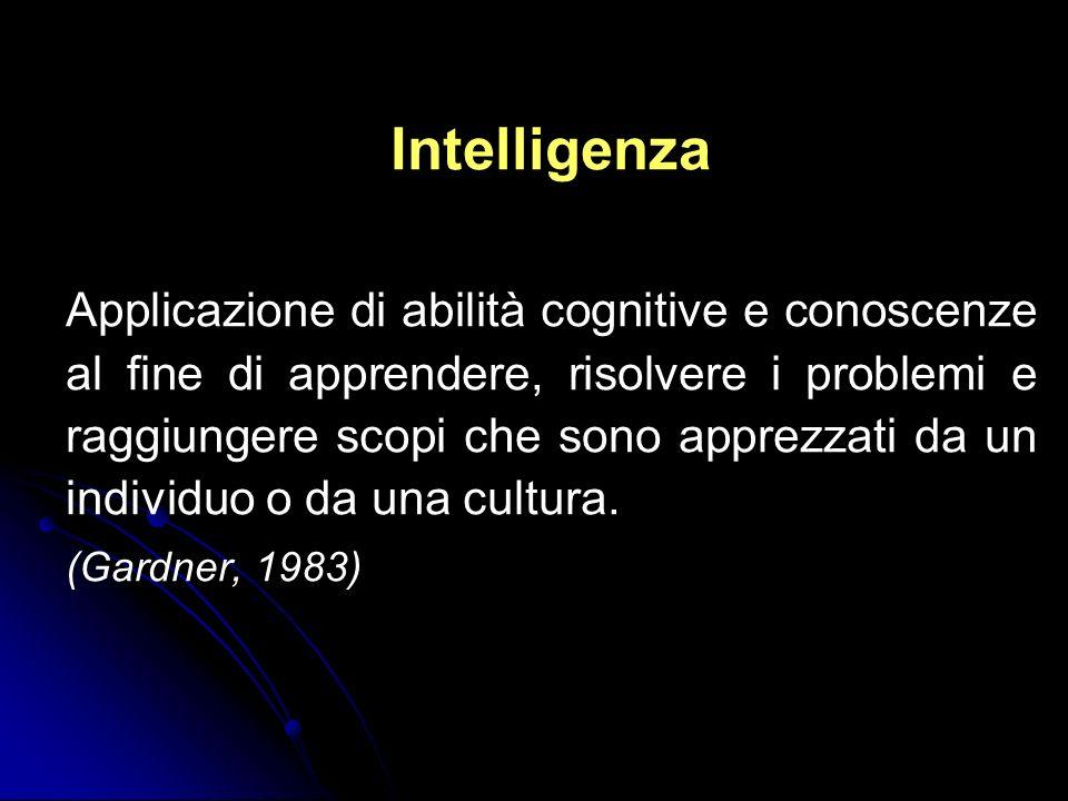 Intelligenza Applicazione di abilità cognitive e conoscenze al fine di apprendere, risolvere i problemi e raggiungere scopi che sono apprezzati da un