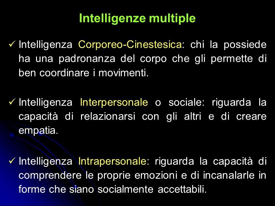 Intelligenze multiple Intelligenza Corporeo-Cinestesica: chi la possiede ha una padronanza del corpo che gli permette di ben coordinare i movimenti. I