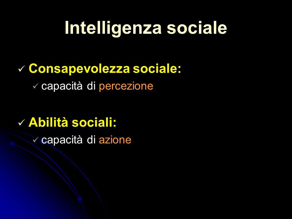 Intelligenza sociale Consapevolezza sociale: capacità di percezione Abilità sociali: capacità di azione