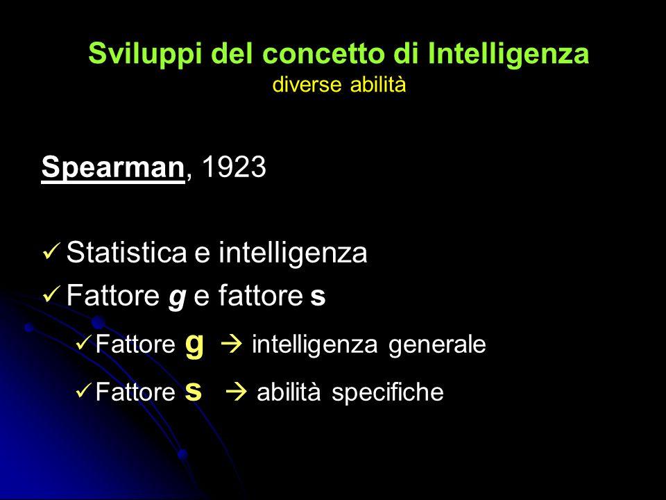 Sviluppi del concetto di Intelligenza diverse abilità Spearman, 1923 Statistica e intelligenza Fattore g e fattore s Fattore g intelligenza generale F