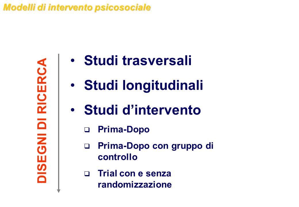 Modelli di intervento psicosociale Studi trasversali Studi longitudinali Studi dintervento Prima-Dopo Prima-Dopo con gruppo di controllo Trial con e s