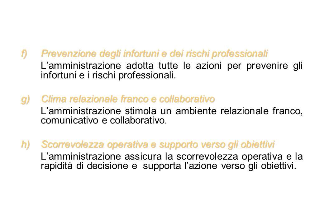 f)Prevenzione degli infortuni e dei rischi professionali Lamministrazione adotta tutte le azioni per prevenire gli infortuni e i rischi professionali.