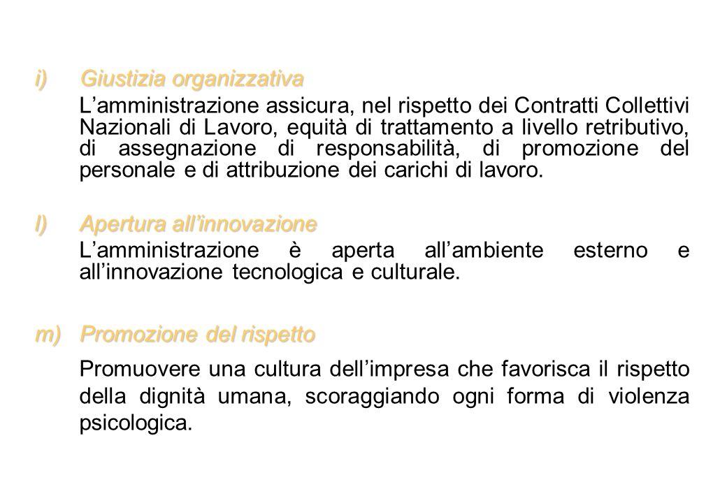 i)Giustizia organizzativa Lamministrazione assicura, nel rispetto dei Contratti Collettivi Nazionali di Lavoro, equità di trattamento a livello retrib