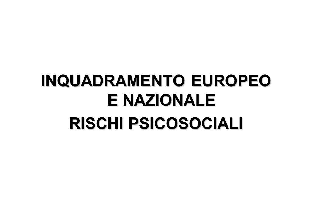INQUADRAMENTO EUROPEO E NAZIONALE RISCHI PSICOSOCIALI
