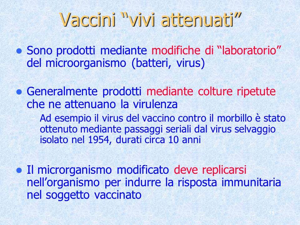 35 Sono prodotti mediante modifiche di laboratorio del microorganismo (batteri, virus) Generalmente prodotti mediante colture ripetute che ne attenuan