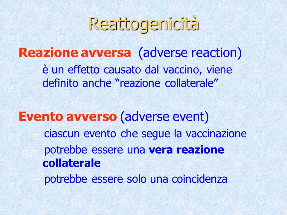 51 Reattogenicità Reazione avversa (adverse reaction) è un effetto causato dal vaccino, viene definito anche reazione collaterale Evento avverso (adve