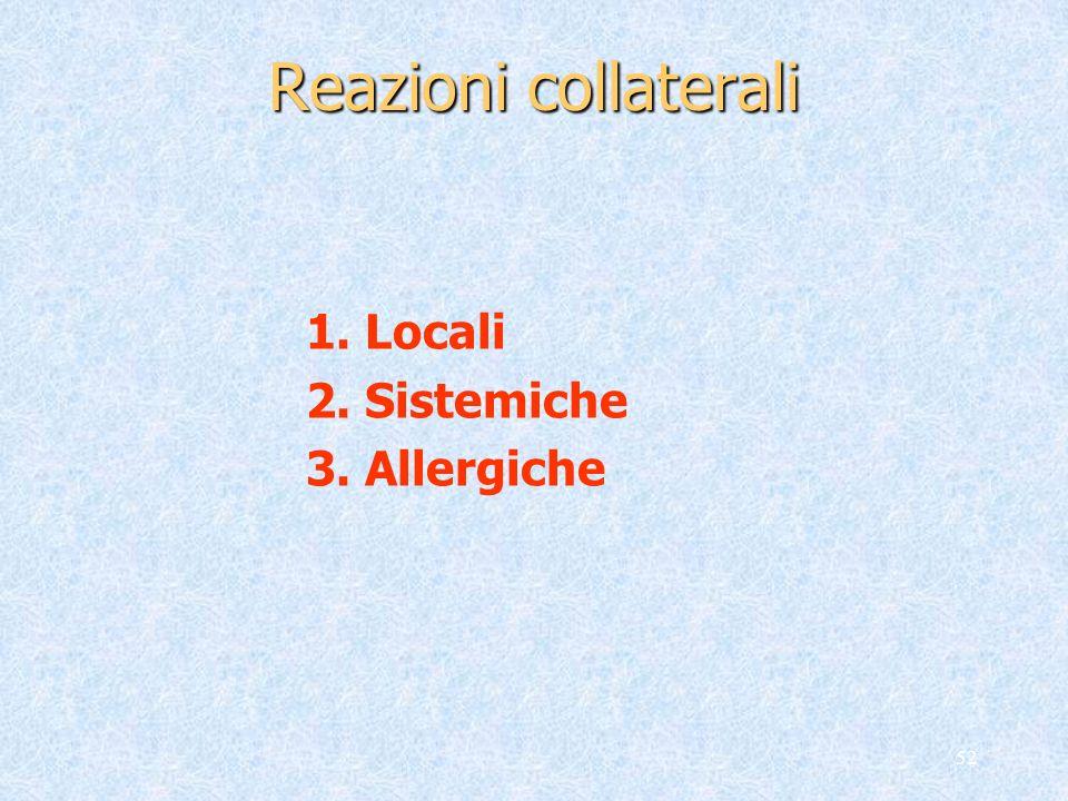 52 Reazioni collaterali 1. Locali 2. Sistemiche 3. Allergiche