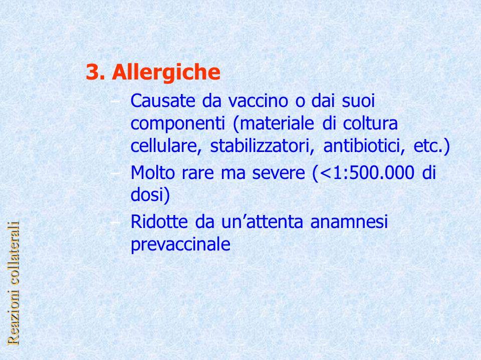 55 3. Allergiche – Causate da vaccino o dai suoi componenti (materiale di coltura cellulare, stabilizzatori, antibiotici, etc.) – Molto rare ma severe